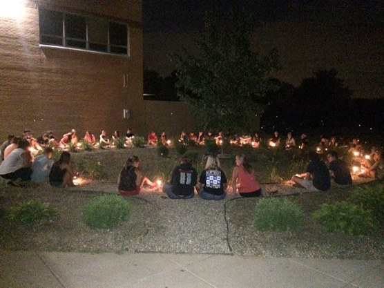 The night of Ben's visitation, his closest family and friends sit together at his high school to share memories with each other and light a candle in Ben's memory.