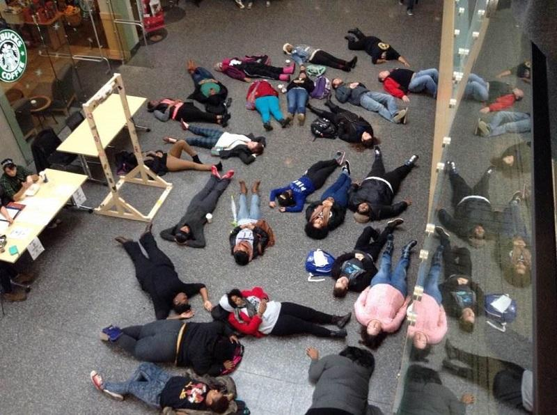 Protesters take over Student Union during lunch time.