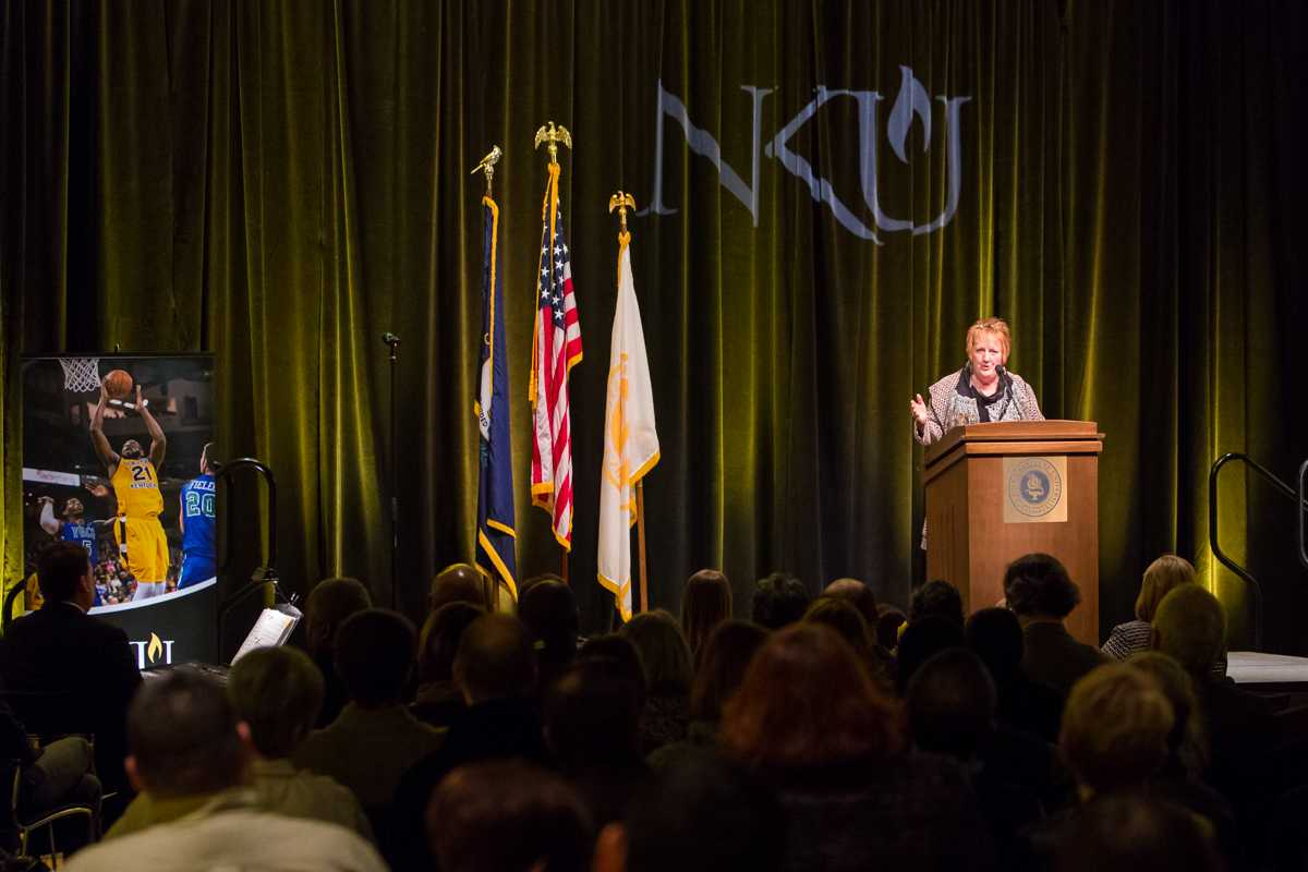 NKU%27s+Provost+Sue+Ott+Rowland+spoke+about+NKU%27s+accomplishments+in+the+past+year+during+President+Mearns%27+2015+Spring+Convocation.+President+Mearns+spoke+about+the+past+year+and+the+upcoming+year+in+the+Student+Union+Ballroom+on+Friday%2C+Jan.+9%2C+2015.