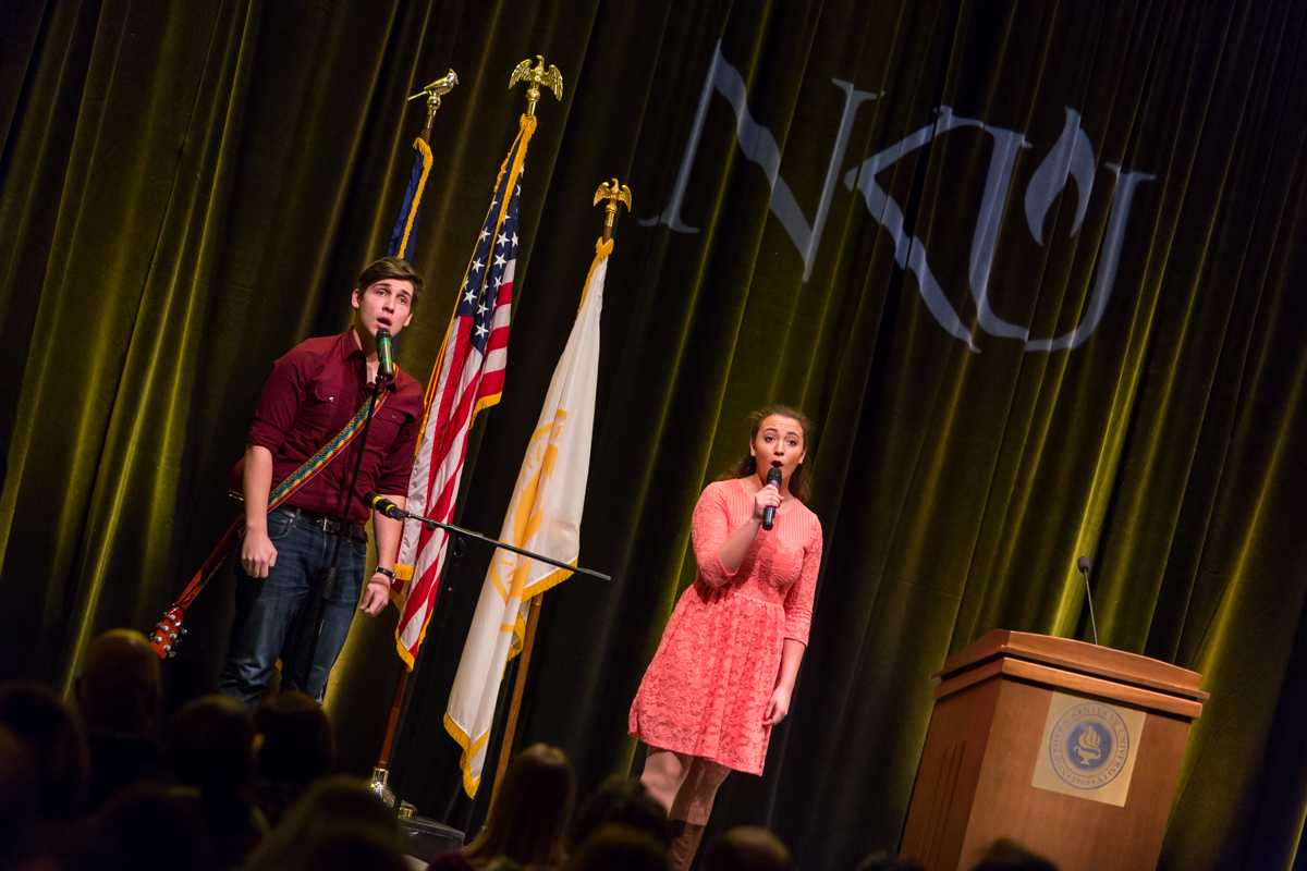 NKU+students+sang+during+President+Mearns%27+2015+Spring+Convocation.+President+Mearns+spoke+about+the+past+year+and+the+upcoming+year+in+the+Student+Union+Ballroom+on+Friday%2C+Jan.+9%2C+2015.