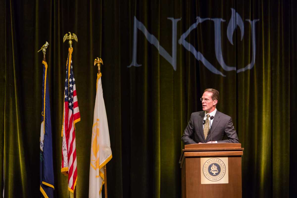 NKU President Mearns speaking during during his 2015 Spring Convocation. President Mearns spoke about the past year and the upcoming year in the Student Union Ballroom on Friday, Jan. 9, 2015.
