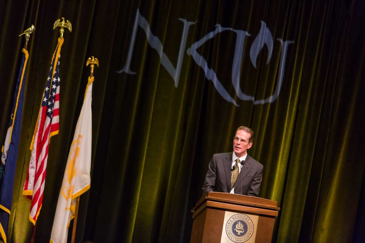 NKU+President+Mearns+speaking+during+during+his+2015+Spring+Convocation.+President+Mearns+spoke+about+the+past+year+and+the+upcoming+year+in+the+Student+Union+Ballroom+on+Friday%2C+Jan.+9%2C+2015.