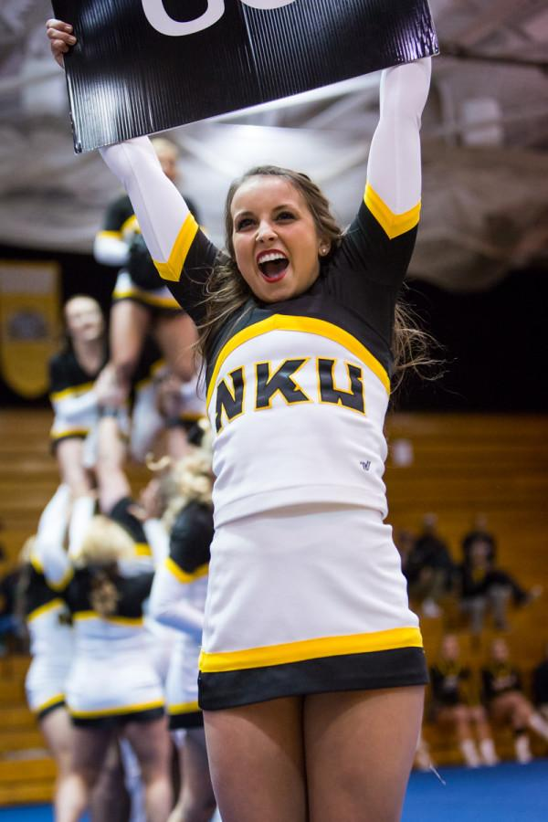 NKU+Cheer+competed+in+NKU%27s+Cheer+and+Dance+Showcase+to+fundraise+for+their+trip+to+nationals+competition.+NKU+competed+on+Jan.+12%2C+2015+in+Regents+Hall+on+NKU+Campus+in+their+Cheer+and+Dance+Showcase.