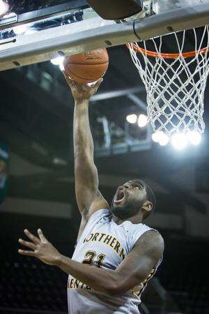 NKU center Jalen Billups goes up for the layup in NKU's loss to North Florida. North Florida defeated NKU 74-66 on Jan. 22, 2015 in The Bank of Kentucky Center.