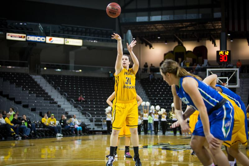 Melody Doss scored her 1,000th point of her NKU career from the free throw line during the second half of NKU's loss to FGCU. Northern Kentucky lost to Florida Gulf Coast 46-76 on Saturday, Jan. 31, 2015 at The Bank of Kentucky Center