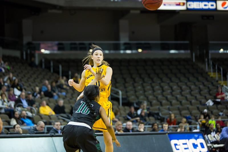 NKU guard Christine Roush passes the ball to a teammate during NKU's win over Stetson. NKU defeated Stetson 68-62 at The Bank of Kentucky Center on Jan. 29, 2015.