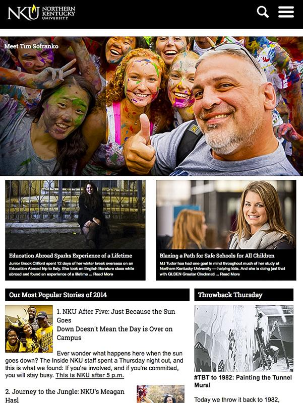 NKU's website became responsive this month. The site's design can be viewed on any device.