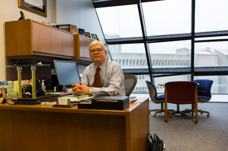 Arne Almquist sits in his office on the fifth floor of Steely Library. Almquist's office is unique because of its architecture.