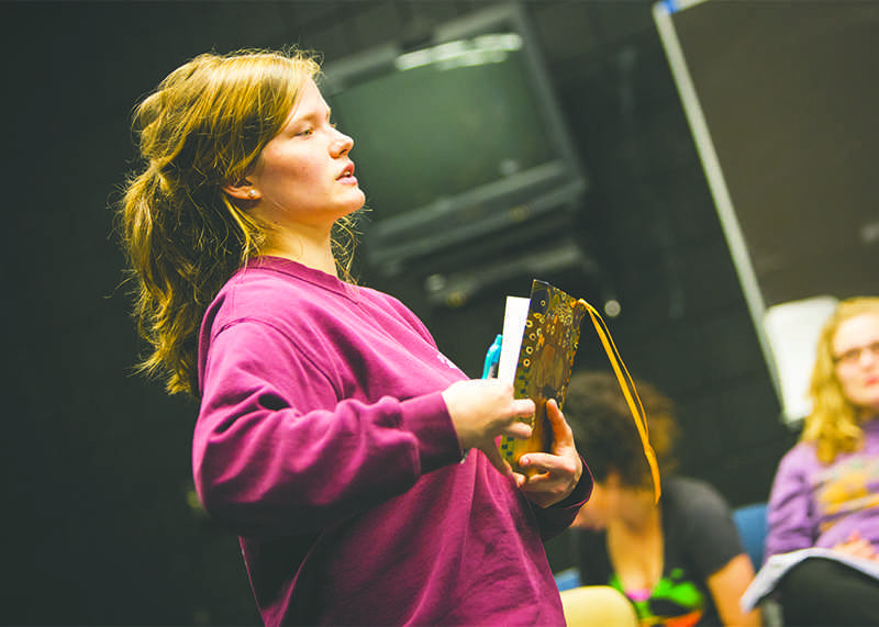 Theater student, Victoria Hawley, directs one of the 307 projects. Howley directed her play The Heidi Chronicles in the Fall of 2014.