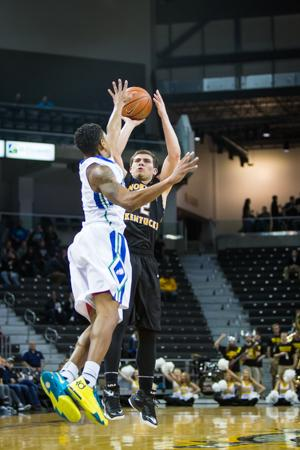 NKU guard Tayler Persons shoots the ball during the second half of NKUs 59-65 loss to FGCU. NKU lost to Florida Gulf Coast 59-65 at The Bank of Kentucky Center on Thursday, Feb. 12, 2015.