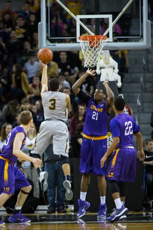 NKU guard Tyler White led the Norse with 18 points in NKUs 77-60 win over Lipscomb. NKU defeated Lipscomb 77-60 at The Bank of Kentucky Center on Saturday, Feb. 7, 2015.