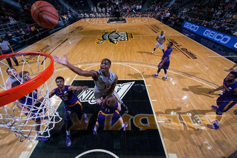NKU guard Jordan Jackson shoots the ball in NKU's 77-60 win over Lipscomb. NKU defeated Lipscomb 77-60 at The Bank of Kentucky Center on Saturday, Feb. 7, 2015.