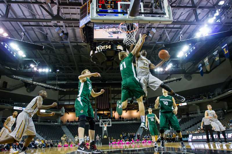 NKU guard Jordan Jackson goes up for the layup during the second half of today's win over Stetson. NKU defeated Stetson 82-57 on Saturday, Feb. 14, 2015 at The Bank of Kentucky Center