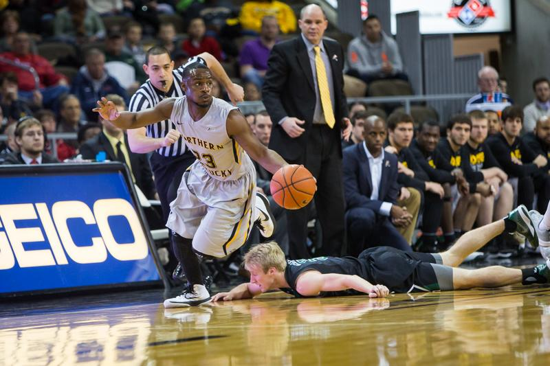 NKU guard Todd Johnson dribbles up the court after stealing the ball from USC Upstate. Johnson had a game high 24 points in NKU's 84-65 win over USC Upstate on Saturday, Feb. 28, 2015 at The Bank of Kentucky Center