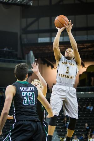 NKU guard Tyler White shoots the ball against USC Upstate finishing with 19 points. NKU defeated USC Upstate 84-65 on Saturday, Feb. 28, 2015 at The Bank of Kentucky Center