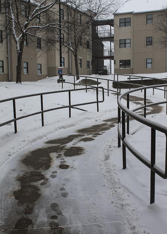 CMA salt was used to clear of the sidewalks in the residential village as snow took over campus.  NKU was closed Monday, Feb. 16 due to inclement weather.