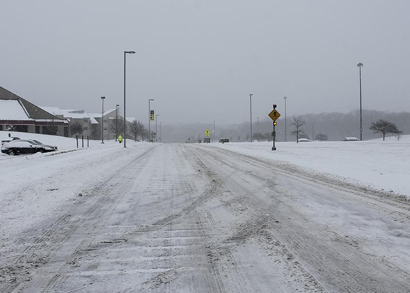 The+roads+on+campus+are+plowed+regularly+as+the+snow+continued+to+fall.++NKU+was+closed+Monday%2C+Feb.+16+due+to+inclement+weather.