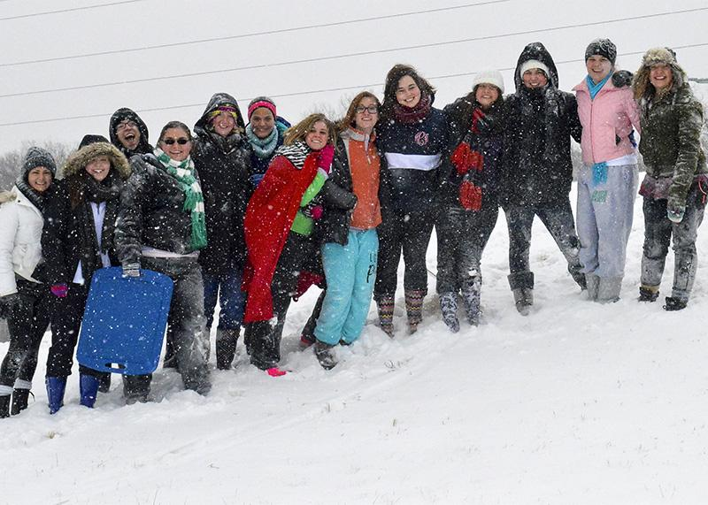 A group of students gathered on campus for Snow Day fun. NKU was closed Monday, Feb. 16 due to inclement weather.