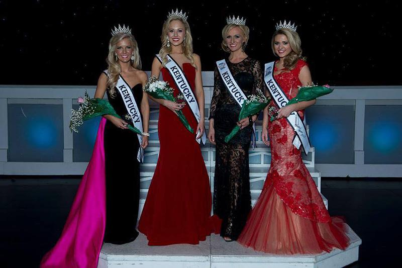 Katie Himes stand with the runners up at the Miss Kentucky Pageant. She is a senior criminal justice major at NKU.