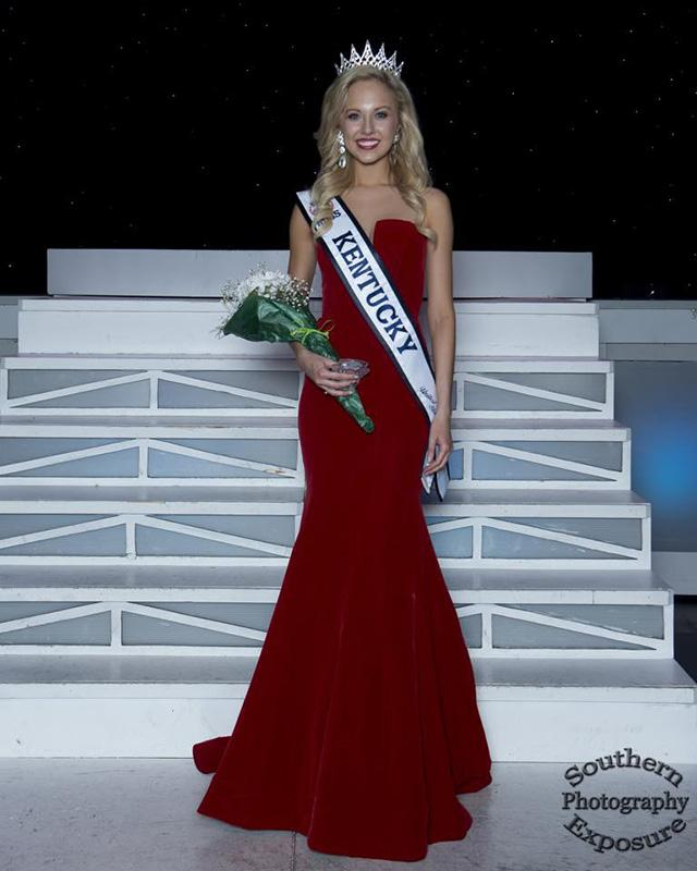 Katie Himes stand on stage after winning the Miss Kentucky pageant.