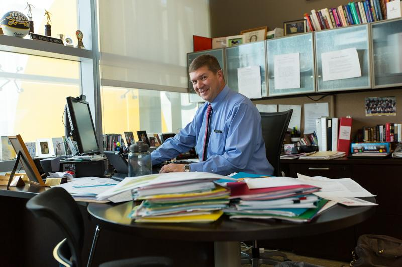 Dean Waple sits in his office on the third floor of the student union.