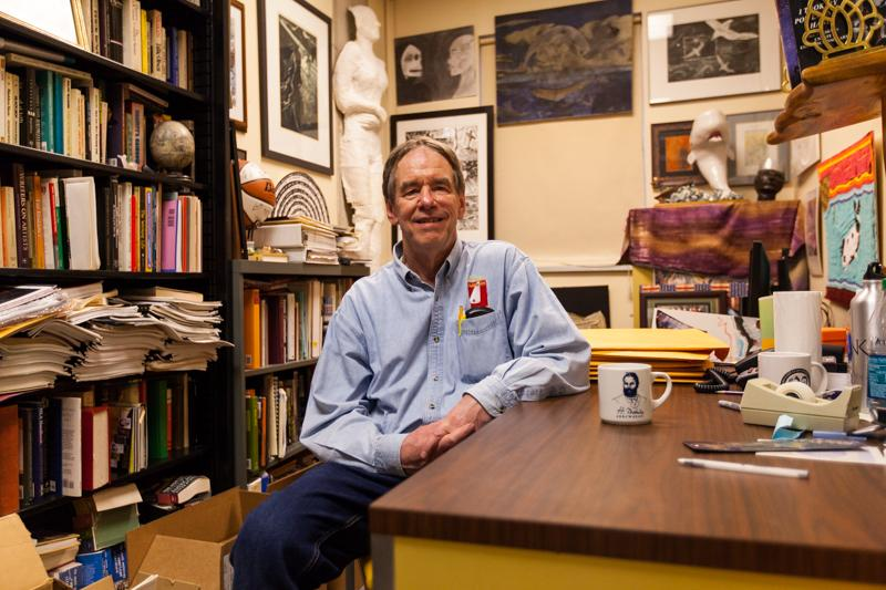 NKU professor Robert Wallace sits in his office. Robert Wallace is the seventh office in NKU's Top Offices series.