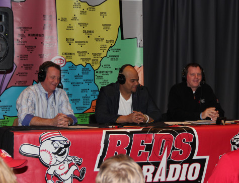 "NKU and Cincinnati Reds broadcaster Jim Kelch talks to guests during a Reds broadcast. Kelch is the ""Voice of the Norse"" for NKU men's basketball radio broadcasts. Photo provided by the Cincinnati Reds."