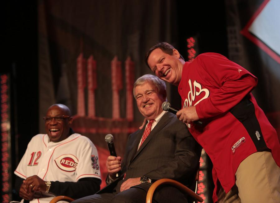 NKU and Cincinnati Reds broadcaster Jim Kelch poses with Cincinnati Reds owner Bob Castellini and former Reds manager Dusty Baker. Kelch is the