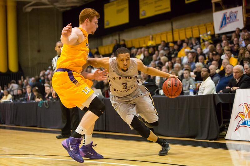 NKU guard Tyler White (3) led the Norse with 17 points in its season-opening loss to West Virginia.