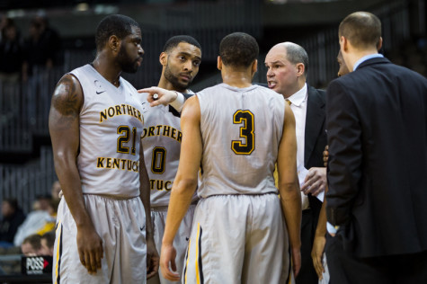 Dave Bezold talks to his team during NKU's match-up against North Florida on Jan. 22, 2015. Bezold's final record at NKU was 194-133.