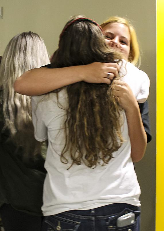President elect Kat Hahnel and her opponent Ellie Kremer hug after the final votes were announced. Hahnel defeated Kremer 565-313.