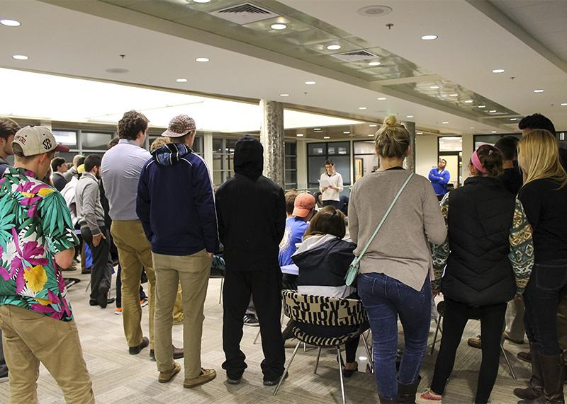 A crowd gathers as Tyler Stevens announces the members of the 2015-16 Student Government Association. The results were announced after two days of voting on March 25, 2015.