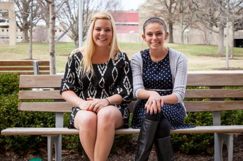 Presidential Candidate Ellie Kremer (left) and Vice Presdiential Candidate Hannah French (right) sit on a bench in the plaza. Their platform is based on community and student involvement.