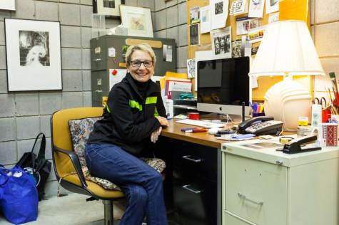 Andrea Knarr sits in her unique office. Knarr's office is the ninth office to be featured in The Northerner's Top Office series.