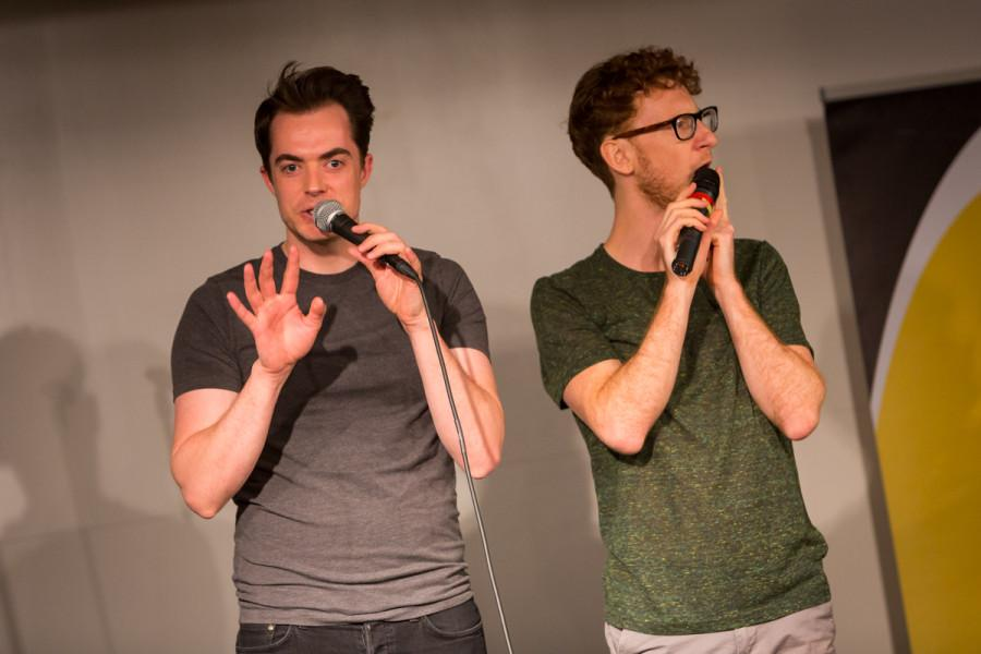 Ben McLain and Paul Peglar of Dakaboom performing on stage in the multipurpose room in the Student Union. Dakaboom performed on stage in the James C. and Rachel M. Votruba Student Union on NKU Campus in the Multipurpose Room on April 20, 2015.