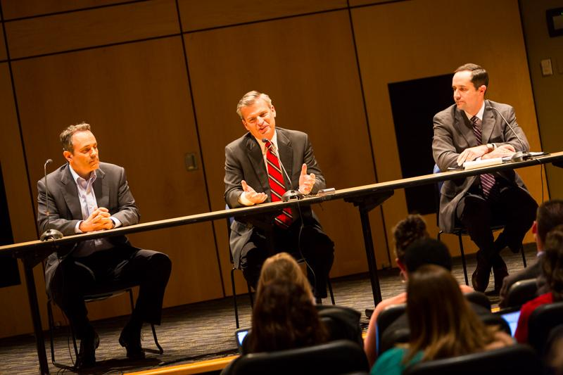 (From left to right) Matt Bevin, Hal Heiner and Chris McDaniel debate at NKU's Gubernatorial Debate on April 22.