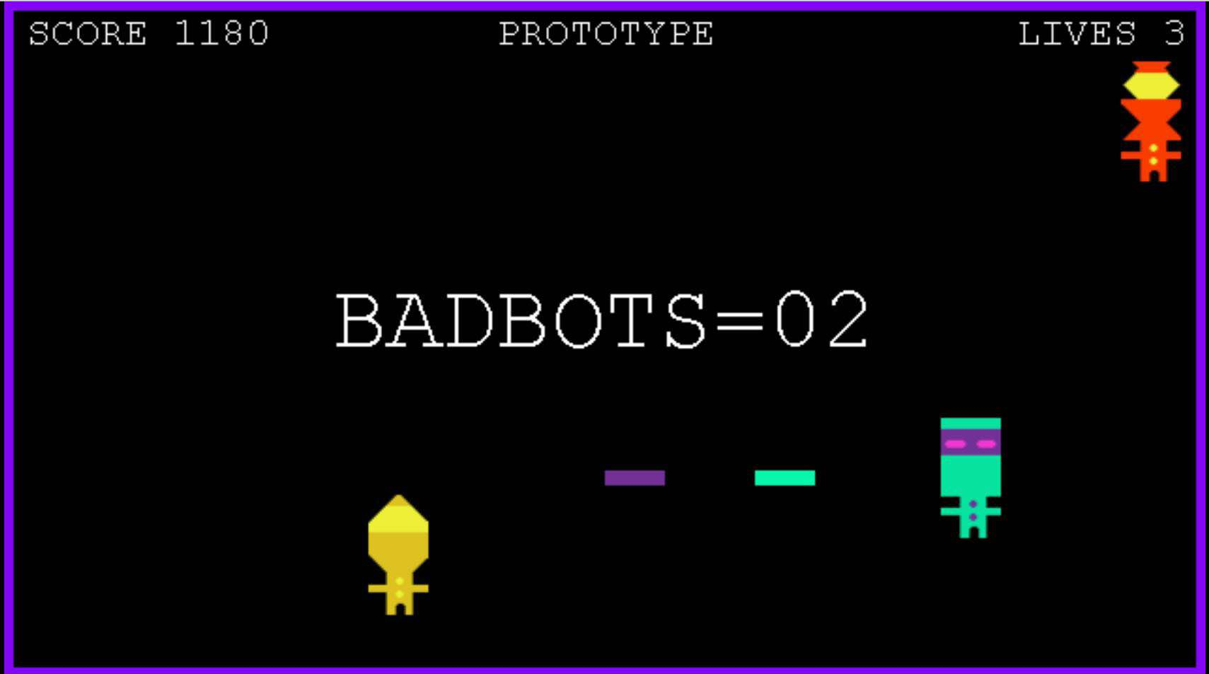 'Robo Ricochet' displays the player's cool colored bot fighting the warm colored bad bots. The game is developed solely by AJ Ryan.