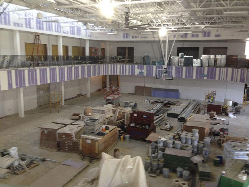 Student government senators caught an overhead glimpse of the multi-activity court. SGA toured the site March 30.