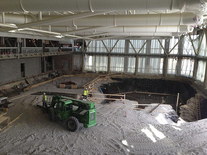 Locker rooms will be constructed to the left of the pool. SGA toured the site March 30.