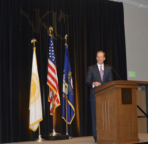 President Geoffrey Mearns delivers the annual Spring Budget Address Wednesday, April 29. Mearns discussed enrollment, retention and state appropriations.