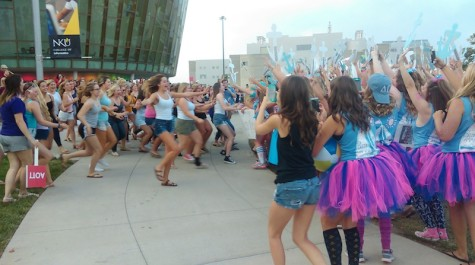 Women run to their new Greek home. NKU's sorority bid day occurred on Sunday, Aug. 30.