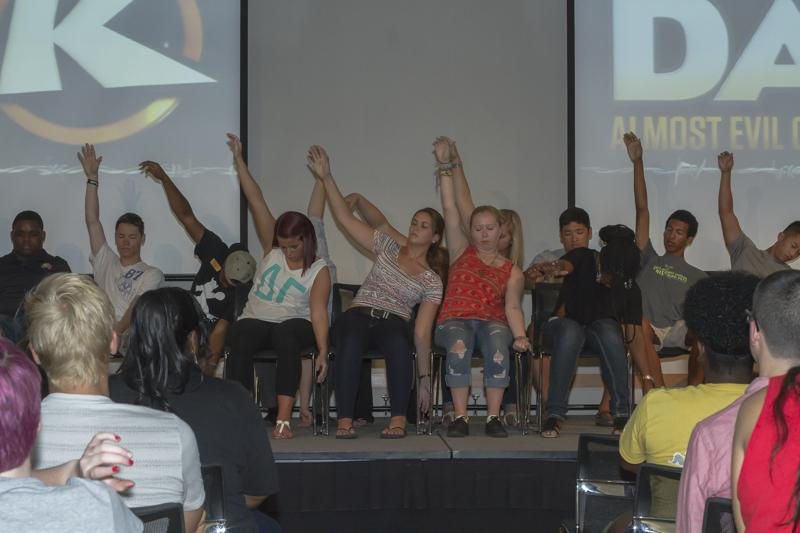 Students+take+part+in+the+hypnotists+show.+Dale+K+has+been+a+familiar+face+at+Victorfest.+