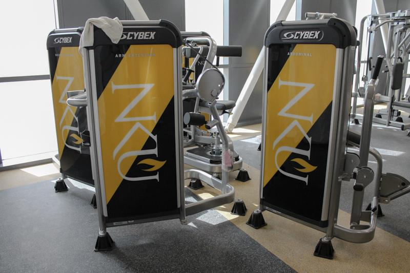 Many of the machines and equipment in the new rec center feature the NKU logo. All machines and equipment are brand new.