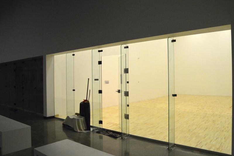 Once closed in, the racquetball courts now feature glass walls that you can look into. They are they only thing that didn't move locations in the renovation.