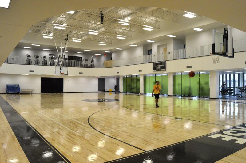 A feature of the newly expanded rec center is the addition of two basketball courts. Currently only one is open while the final four are being completed.
