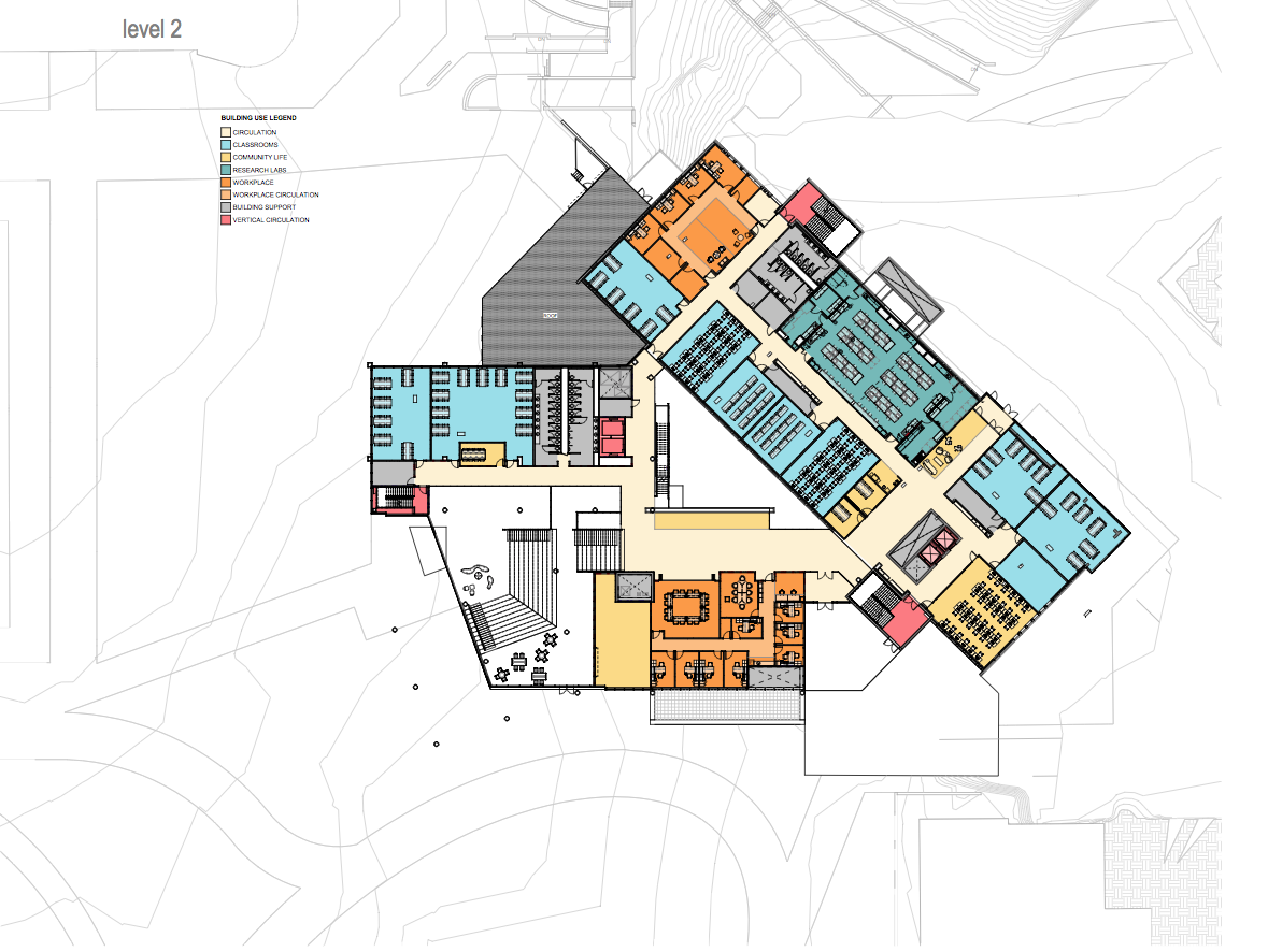 Map of the new Founders Hall and Health Innovation Center.