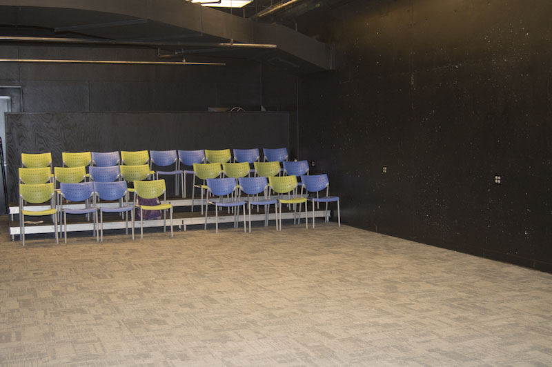 There is seating in the new theater. This will be home to student-run productions.