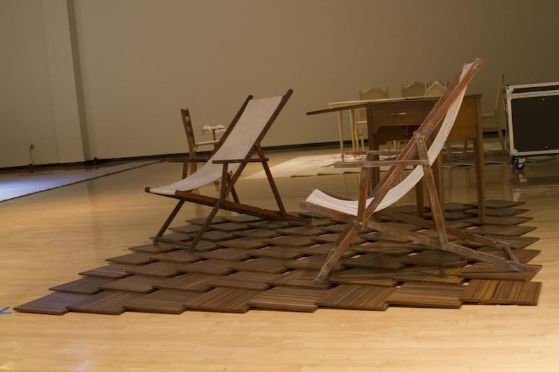 A piece in the exhibit reflects a moment when the character recalls a beach. The exhibit runs until Oct. 30.