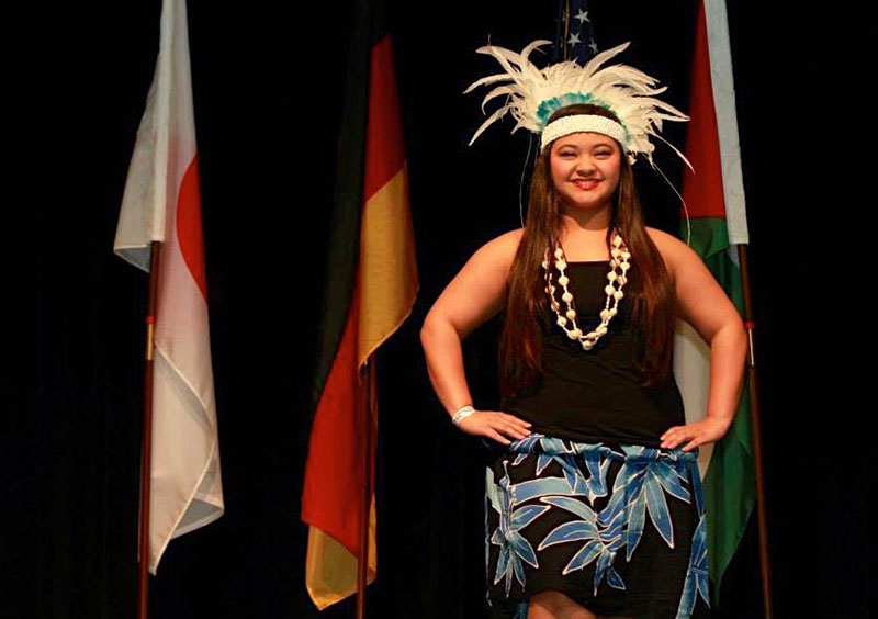 Anna Guerrero, a Pacific Islander, speaks out against cultural-based Halloween costumes, including the stereotypical grass skirt that is often associated with her culture. She is pictured above in her native culture attire.