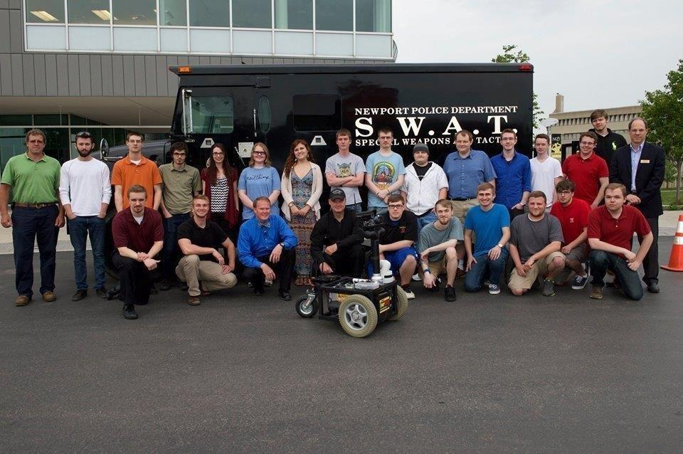 Students involved with the robot's creation.  The robot was created by BIS 394 students.